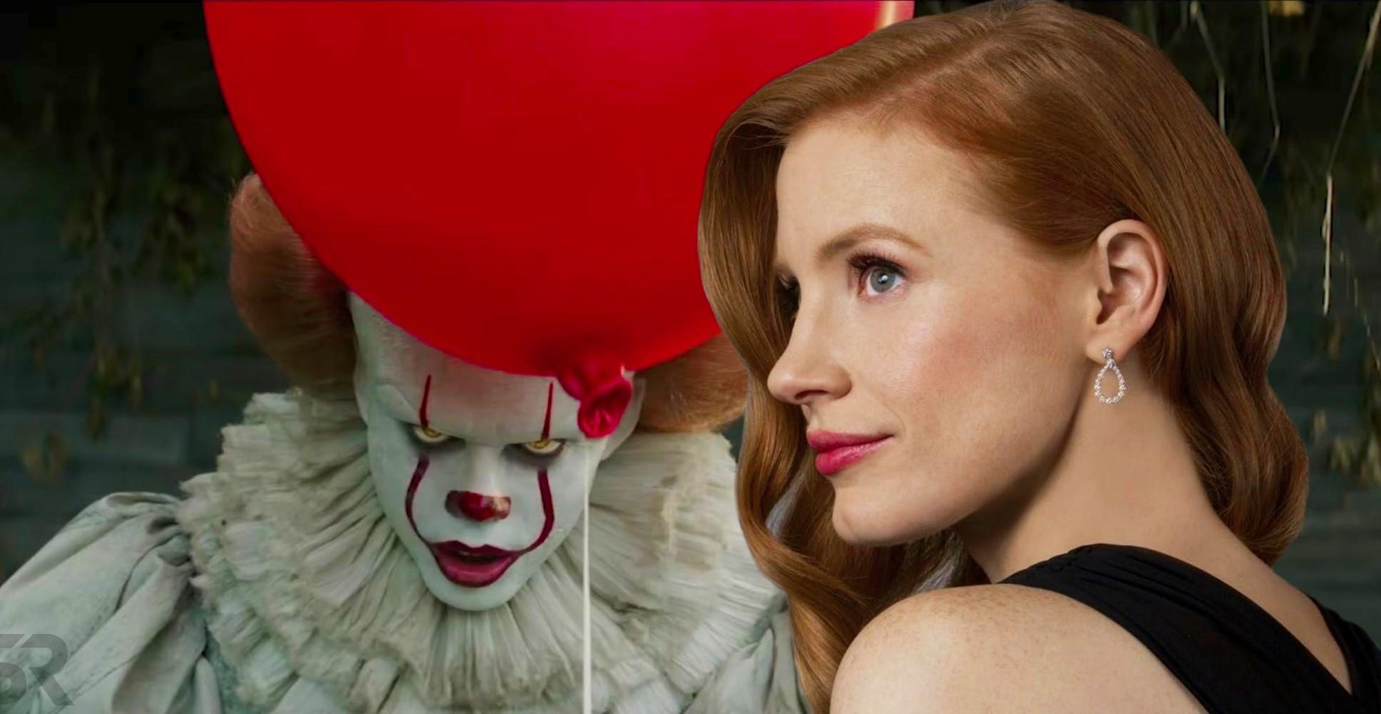 Джессика Честейн на фото со съёмок второй части «Оно»