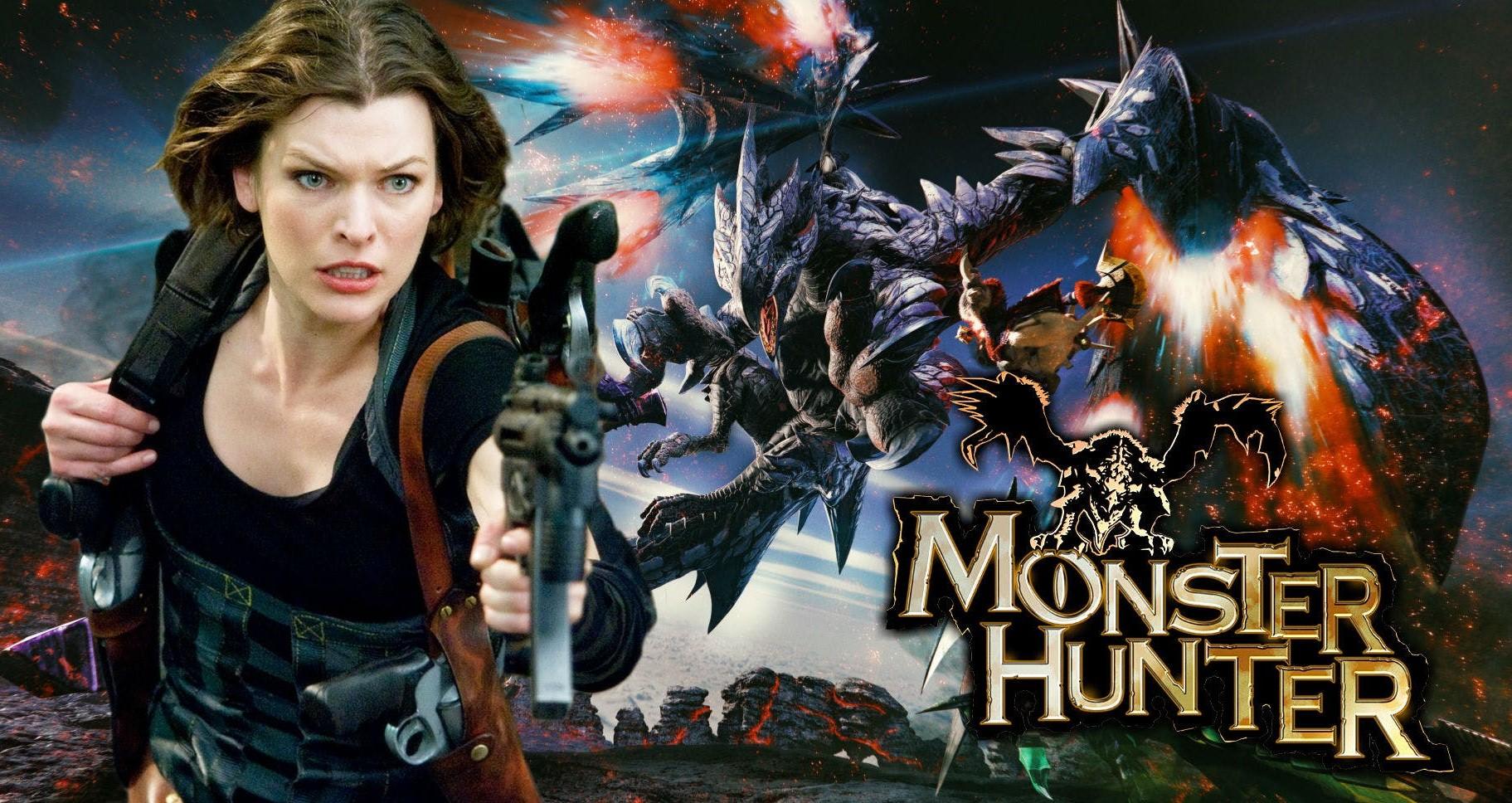 Милла Йовович и Рон Перлман на съёмках фильма по Monster Hunter