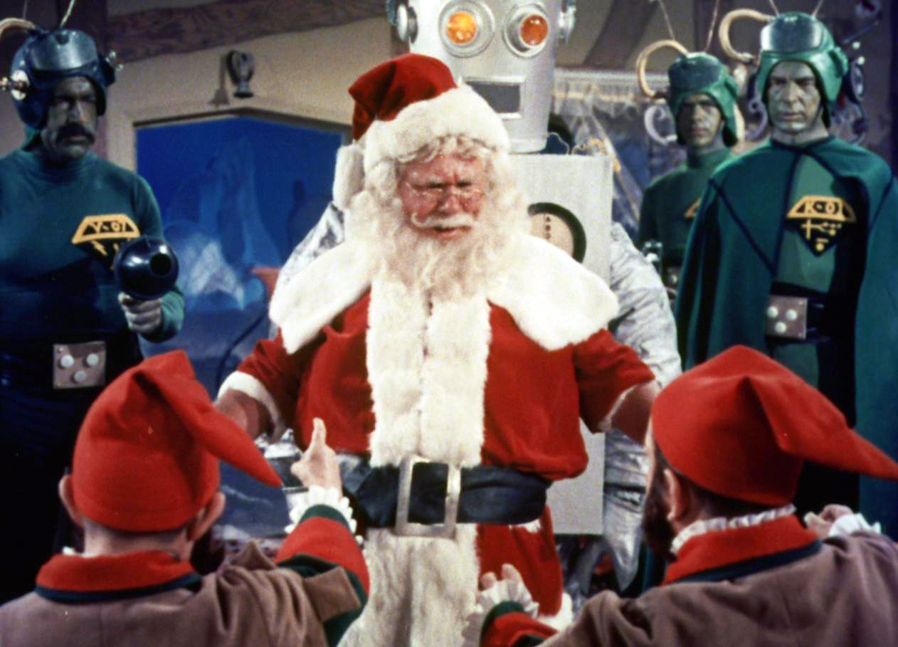 "Shot from the movie ""Santa Claus conquers the Martians"""