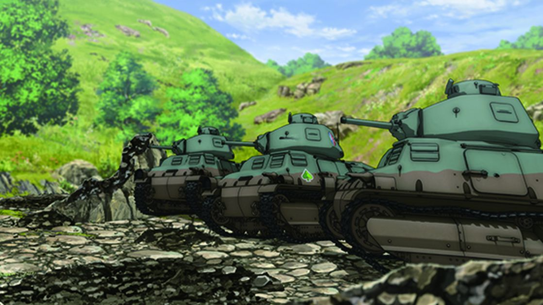 "A frame from the cartoon ""Girls and tanks"""