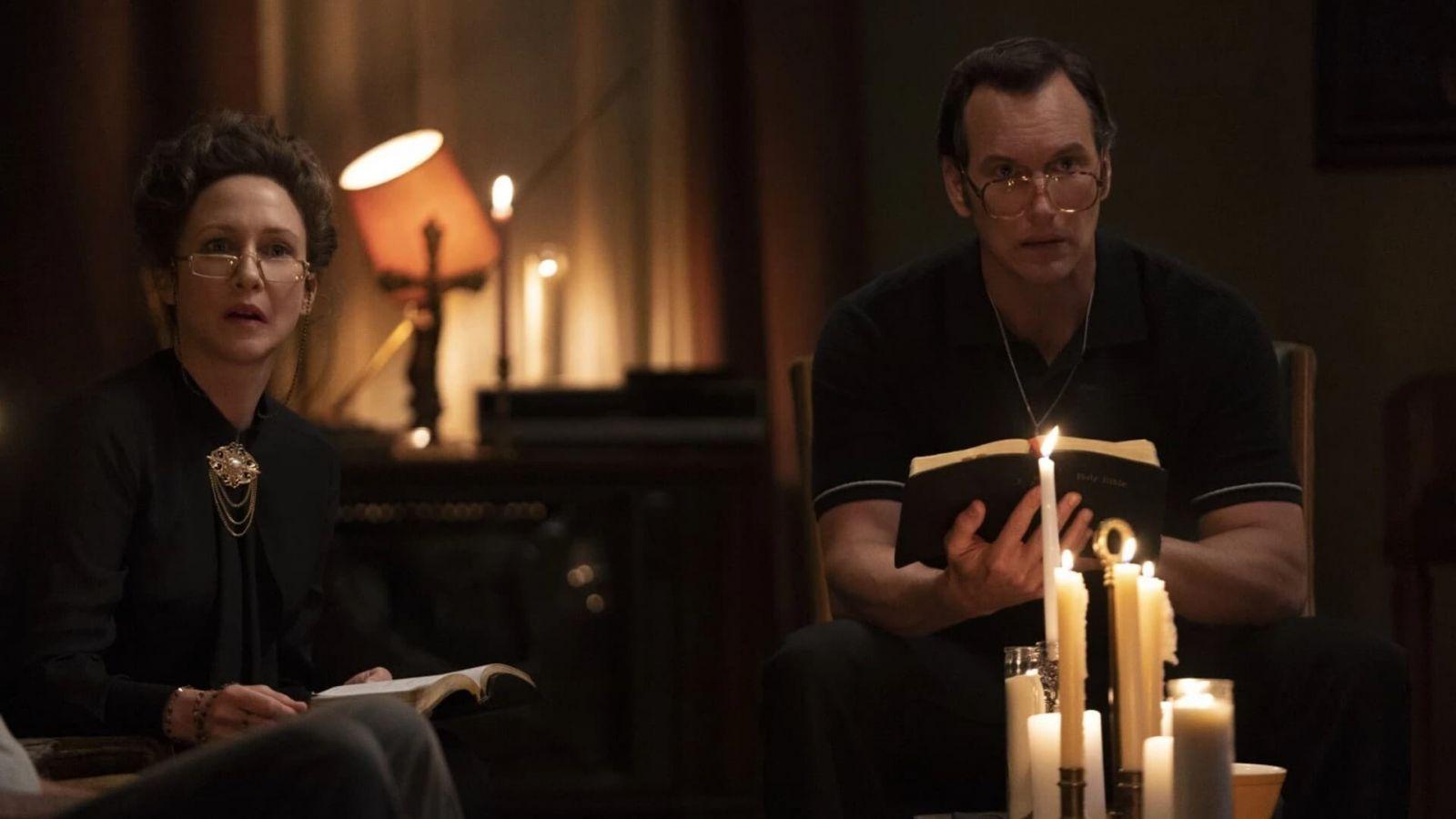 Патрик Уилсон в роли Эд Уоррена на кадре из фильма «Заклятие 3: По воле дьявола»