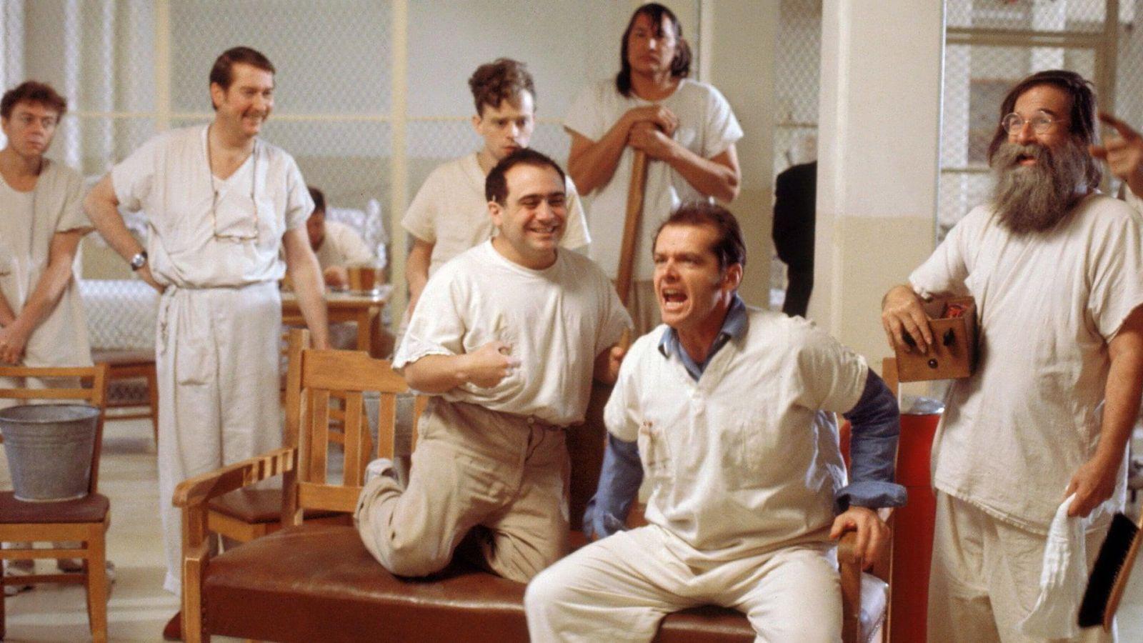 Джек Николсон в роли Рэндла Макмёрфи на кадре из фильма «Пролетая над гнездом кукушки»