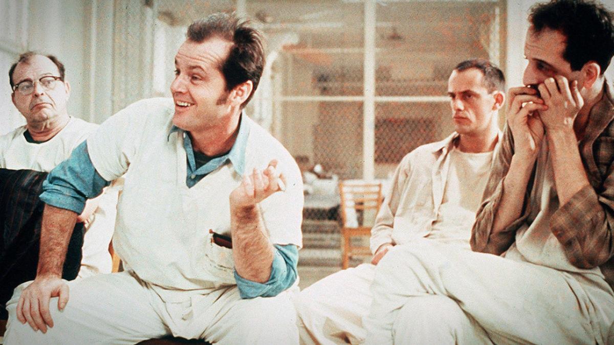 Джек Николсон в роли Рэндла Патрика Макмерфи на кадре из фильма «Пролетая над гнездом кукушки»