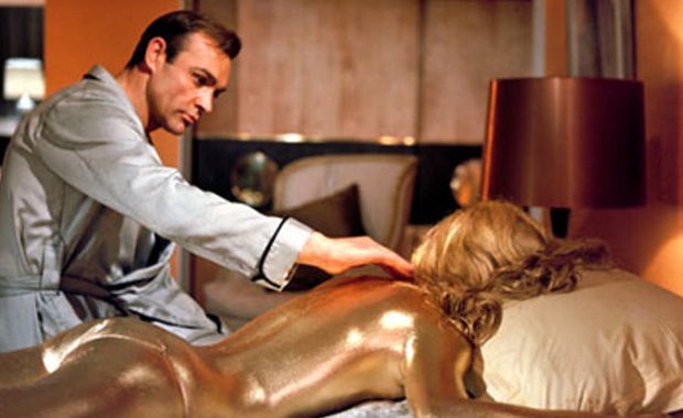 "Shot from the movie ""Goldfinger"""