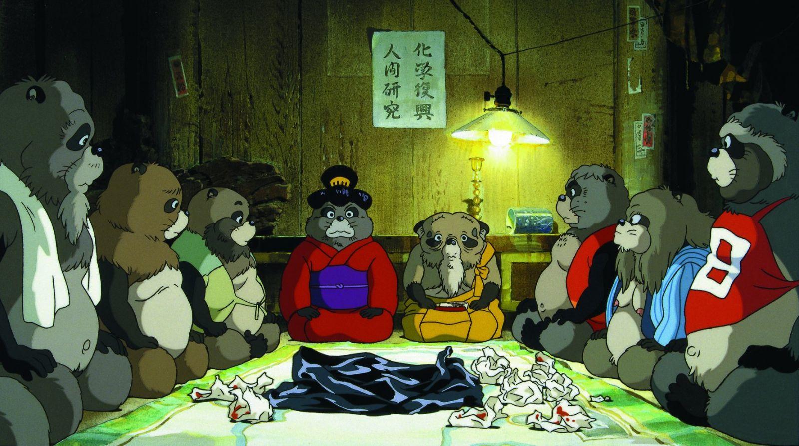 """Кадр из мультфильма """"Помпоко: Война тануки"""""""