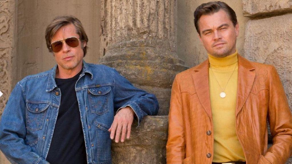 Леонардо ДиКаприо и Брэд Питт на съёмках «Однажды в Голливуде»