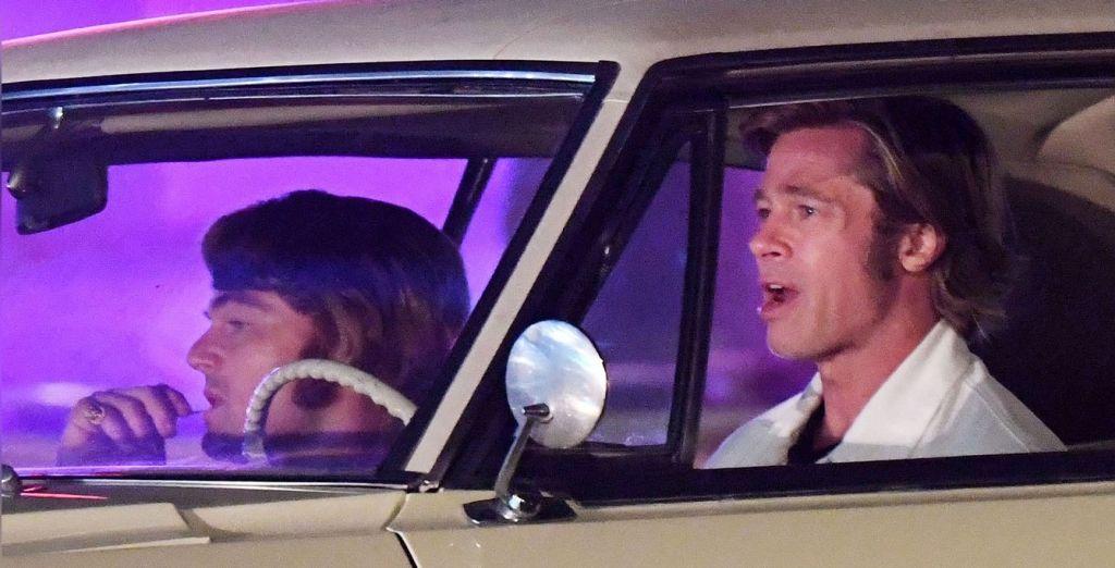 ДиКаприо и Питт на съёмках «Однажды в Голливуде» Тарантино