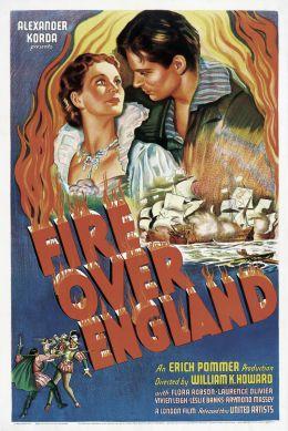 """Постер к фильму """"Пламя над Англией"""" /Fire Over England/ (1936)"""