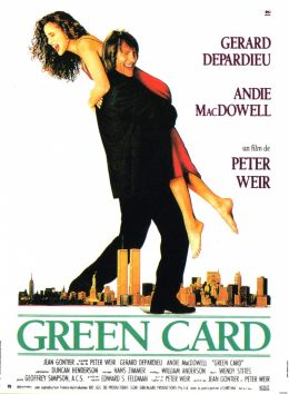 """Постер к фильму """"Вид на жительство"""" /Green Card/ (1990)"""